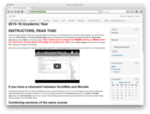 Moodle landing page